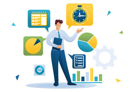 Young businessman is engaged in time management. Distribution of tasks. Flat 2D character. Concept for web design.