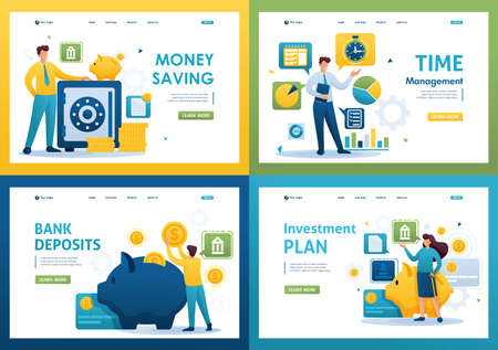 Set Flat 2D concepts saving money, bank deposits, investment plan, time management. For Landing page concepts and web design.