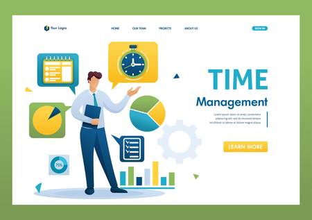 Young businessman is engaged in time management. Distribution of tasks. Flat 2D character. Landing page concepts and web design.