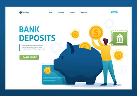 Young man puts money in a Bank Deposit, investing funds. Flat 2D character. Landing page concepts and web design.