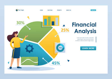 Young girl next to a large chart and a set of analytical data to analyze the information. Flat 2D character. Landing page concepts and web design.