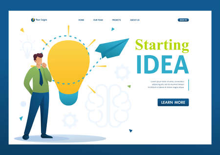 Young man launches a business idea, a business startup. Brainstorm business ideas. Flat 2D character. Landing page concepts and web design. Archivio Fotografico - 131545579