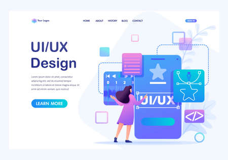Young woman creates a custom design for a mobile application, Ui UX design. Flat 2D character. Landing page concepts and web design. Archivio Fotografico - 131545586