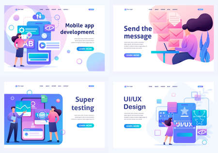 Set Flat 2D concepts Mobile app, UI UX Design, Super testing, Send message. For Landing page concepts and web design. Archivio Fotografico - 131545587
