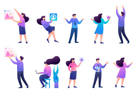 Set of 2D characters to create illustrations, teenagers, young entrepreneurs, designers, creative people. Concept for web design.