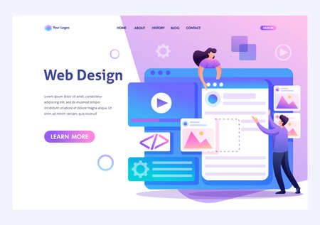 Young people are engaged in web design, website page development. Flat 2D character. Landing page concepts and web design. Archivio Fotografico - 131545588