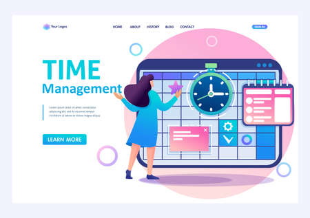 Young girl engaged in time management and business planning for a month. Flat 2D character. Landing page concepts and web design.