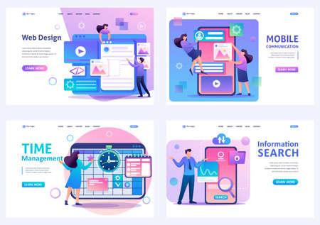 Set Flat 2D concepts web design, Time management, mobile communication, information search. For Landing page concepts and web design. Ilustrace