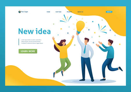 Young team Creates a new idea, teamwork. Brainstorm business ideas. Flat 2D character. Landing page concepts and web design. Archivio Fotografico - 131545611