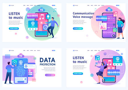 Set Flat 2D concepts LISTEN to music, Communication Voice message, data protection. For Landing page concepts and web design.