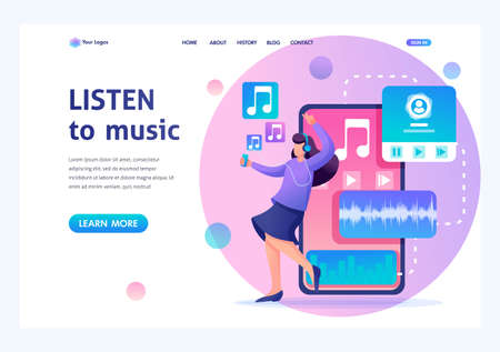 Young girl listens to music on the smartphone through the app, dancing and rejoicing. Flat 2D character. Landing page concepts and web design.