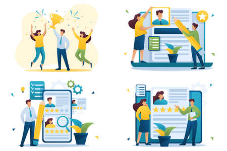 Set Flat 2D-Konzepte Gewinner, HR-Manager, Recruiting, Erstellen eines Lebenslaufs. Für Konzept für Webdesign. Vektorgrafik