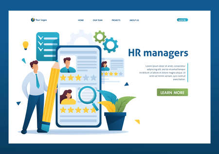 Young successful HR Manager, resume review, recruitment concept. Flat 2D character. Landing page concepts and web design.