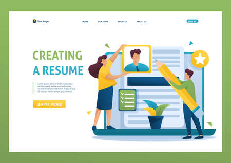 Young team creates a resume, applicant, applicant concept. Flat 2D character. Landing page concepts and web design. Ilustrace