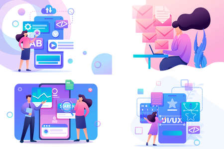 Set Flat 2D concepts Mobile app, UI UX Design, Super testing, Send message. For Concept for web design. Illustration