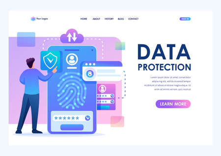 Young man with mobile phone, data protection, biometric lock. Flat 2D character. Landing page concepts and web design.