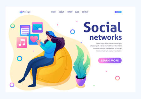 Teenage girl listens to music on her smartphone and uses a social network. Flat 2D character. Landing page concepts and web design.