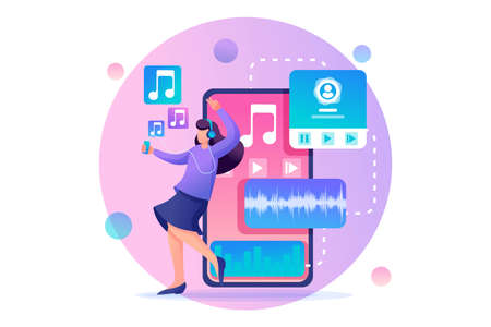 Young girl listens to music on the smartphone through the app, dancing and rejoicing. Flat 2D character. Concept for web design. Illustration