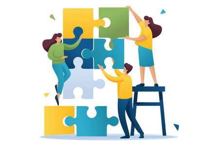 Jóvenes conectando elementos de rompecabezas, trabajo en equipo, cooperación, asociación. Personaje plano 2D. Concepto de diseño web.