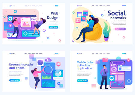 Set Flat 2D concepts concepts web design, social networks, data analysis, mobile collection. For Landing page concepts and web design.
