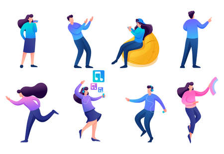 Set of 2D characters to create illustrations, teenagers, young entrepreneurs, designers, creative people. For Concept for web design.