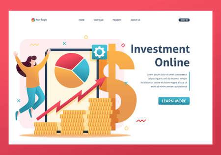 Online investment management, investors invest in stocks and online assets. Flat 2D character. Landing page concepts and web design. Ilustração
