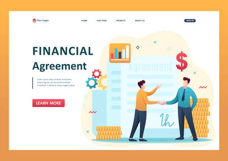 Concept of creating a financial agreement, partners conclude an agreement. Flat 2D character. Landing page concepts and web design. Çizim
