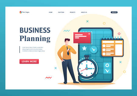 Young entrepreneur plans the time for business, fills the calendar for the month. Flat 2D character. Landing page concepts and web design.