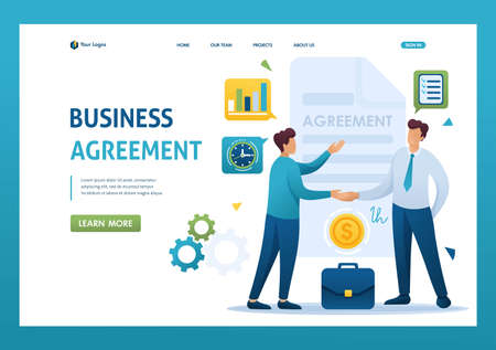 Young Businessmen agreement partners, growth revenue schedules. Flat 2D character. Landing page concepts and web design.