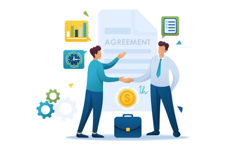 Young Businessmen agreement partners, growth revenue schedules. Flat 2D character. Concept for web design.