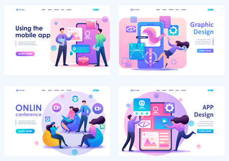 Set Flat 2D concepts online conference, Using mobile app, APP Design, Graphic Design. For Landing page concepts and web design. Ilustrace