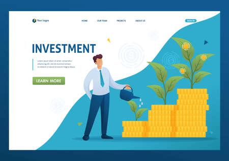 Young Businessman save and increase investment, capital, income growth. Flat 2D character. Landing page concepts and web design.