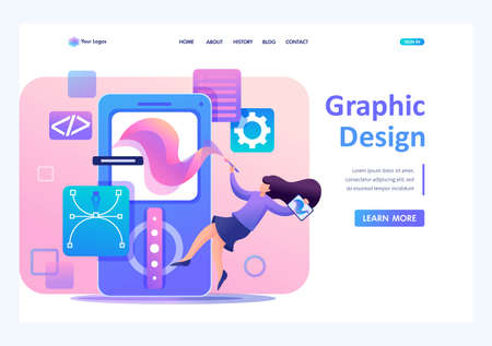 Girl designer is engaged in the design of the application design, the development of graphic design menu. Flat 2D character. Landing page concepts and web design. Archivio Fotografico - 131545657