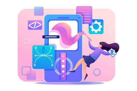 Girl designer is engaged in the design of the application design, the development of graphic design menu. Flat 2D character. Concept for web design.