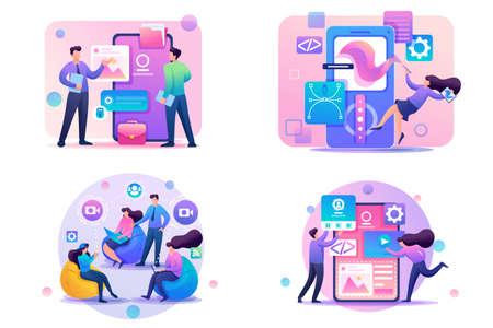 Set Flat 2D concepts online conference, Using mobile app, APP Design, Graphic Design. For Concept for web design.