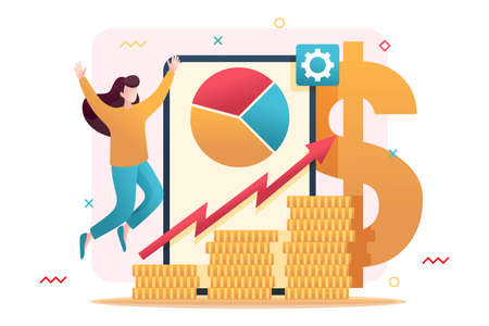 Online investment management, investors invest in stocks and online assets. Flat 2D character. Concept for web design.