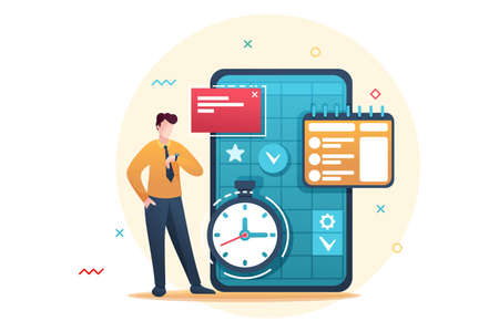 Young entrepreneur plans the time for business, fills the calendar for the month. Flat 2D character. Concept for web design. Ilustrace