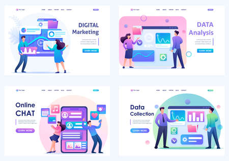Set Flat 2D concepts Online chat, data analysis, data collection, digital marketing. For Landing page concepts and web design.
