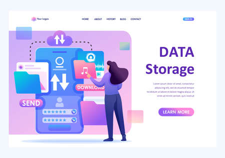 Young girl interacting with the data storage, downloads and uploads files to the cloud. Flat 2D character. Landing page concepts and web design.