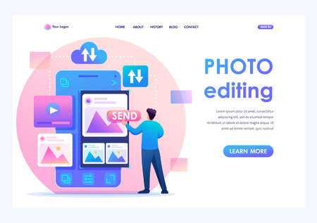 Young man is editing his photos on a smartphone. Concept of content for social networks. Flat 2D character. Landing page concepts and web design.  イラスト・ベクター素材