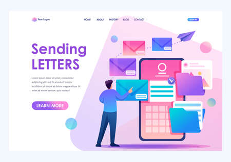 Young man creates New email message, send mail notification. New incoming message. Flat 2D character. Landing page concepts and web design. Çizim