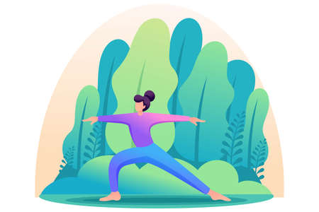 Yoga girl surrounded by plants outdoors, in the Park, in the forest. Flat 2D character. Concept for web design. Ilustração