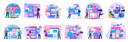 Large set of mini concepts of teenagers work on smartphones, tablets, managing gadgets. Basis for web design and application design. Фото со стока - 131953270
