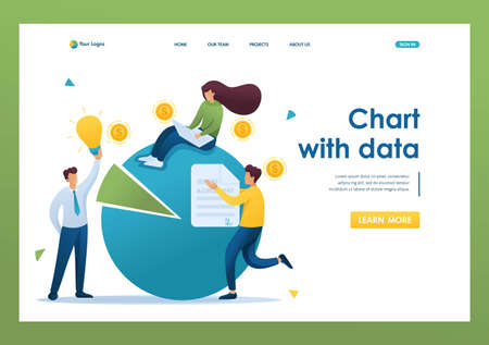 Chart with data for use by entrepreneurs, financial statements, credit debt. Flat 2D character. Landing page concepts and web design.