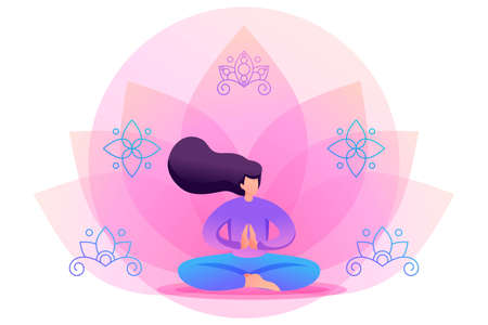 Yoga girl in pose, asana on flower background. Flat 2D character. Concept for web design. Ilustrace