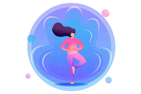 Yoga girl on the background of the cosmic nebula. Flat 2D character. Concept for web design. Illusztráció