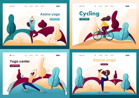 Set Flat 2D concepts doing yoga, pose, asana, Cycling outdoors in the Park. For Landing page concepts and web design.