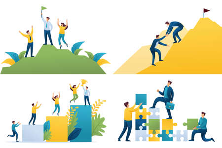 Set Flat 2D concepts Become successful, team leads to success, way to success, on top of success. For Concept for web design.
