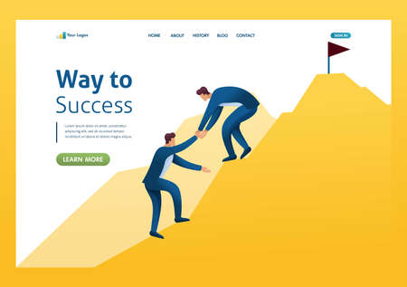 Team of Young entrepreneurs climbs to the top of the mountain to success. Flat 2D character. Landing page concepts and web design. Иллюстрация