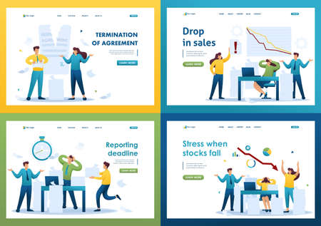 Set Flat 2D concepts Drop in sales, Reporting deadline, Stress when stocks fall, Termination of agreement. For Landing page concepts and web design.